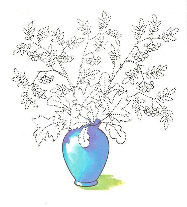 картинки для раскрашивания ваза с листьями занимаемся изготовлением банных